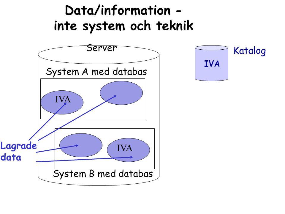 Data/information - inte system och teknik Server System A med databas System B med databas IVA Lagrade data Katalog IVA
