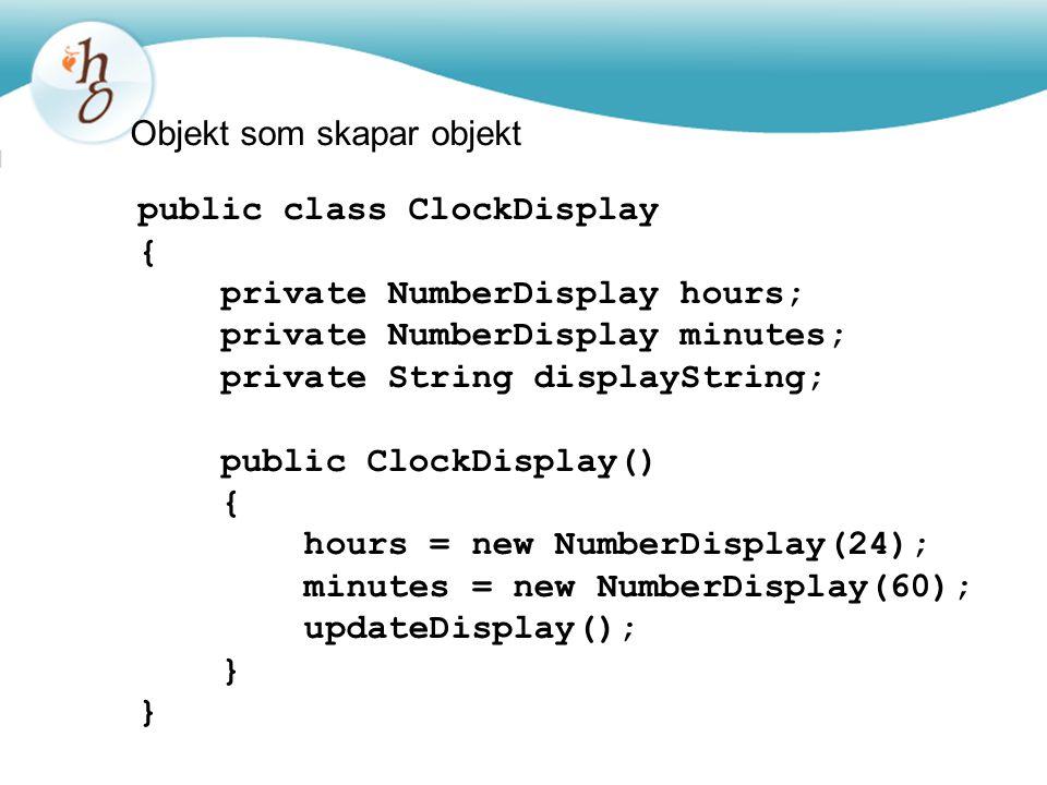 Objekt som skapar objekt public class ClockDisplay { private NumberDisplay hours; private NumberDisplay minutes; private String displayString; public
