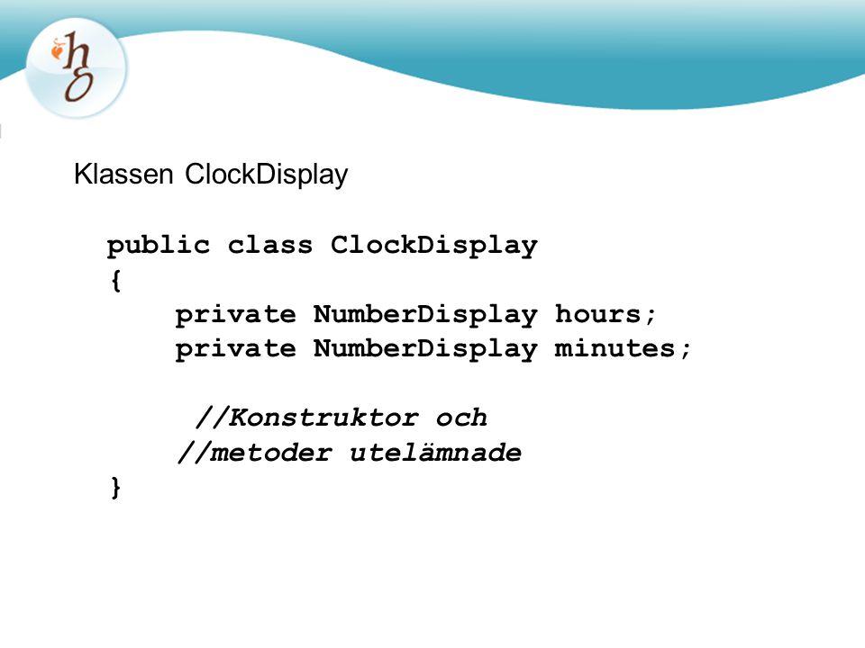 Klassen ClockDisplay public class ClockDisplay { private NumberDisplay hours; private NumberDisplay minutes; //Konstruktor och //metoder utelämnade }