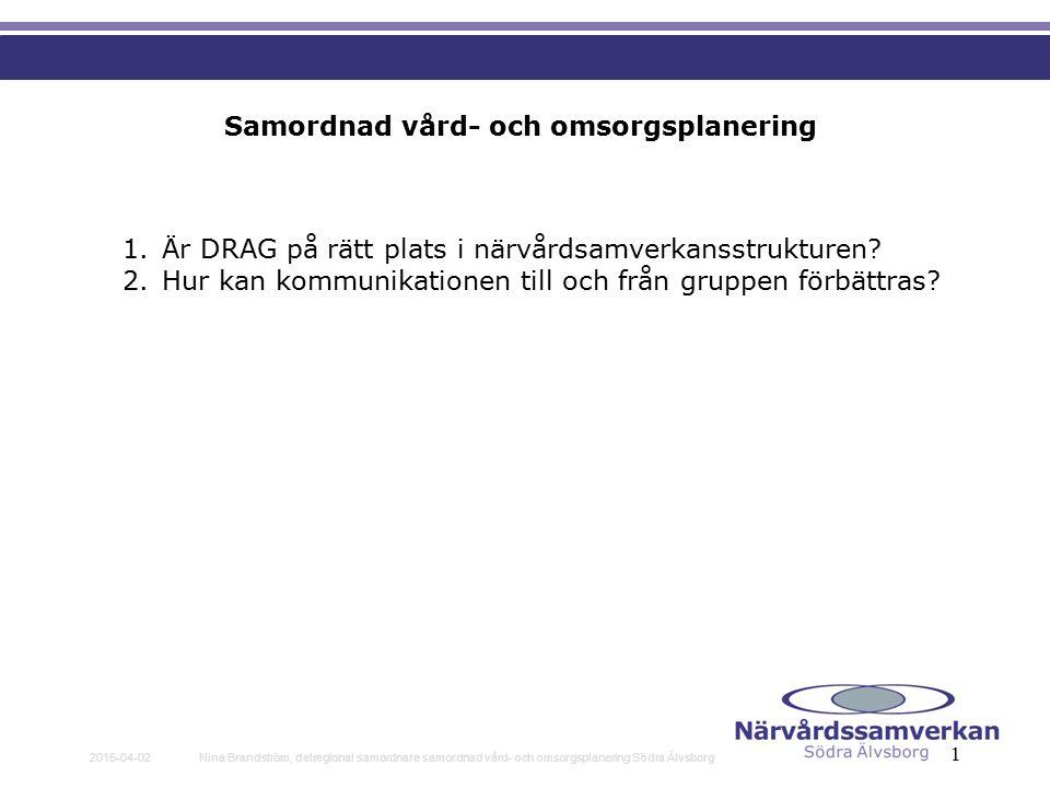 2015-04-02Nina Brandström, delregional samordnare samordnad vård- och omsorgsplanering Södra Älvsborg 1 Samordnad vård- och omsorgsplanering 1.Är DRAG på rätt plats i närvårdsamverkansstrukturen.