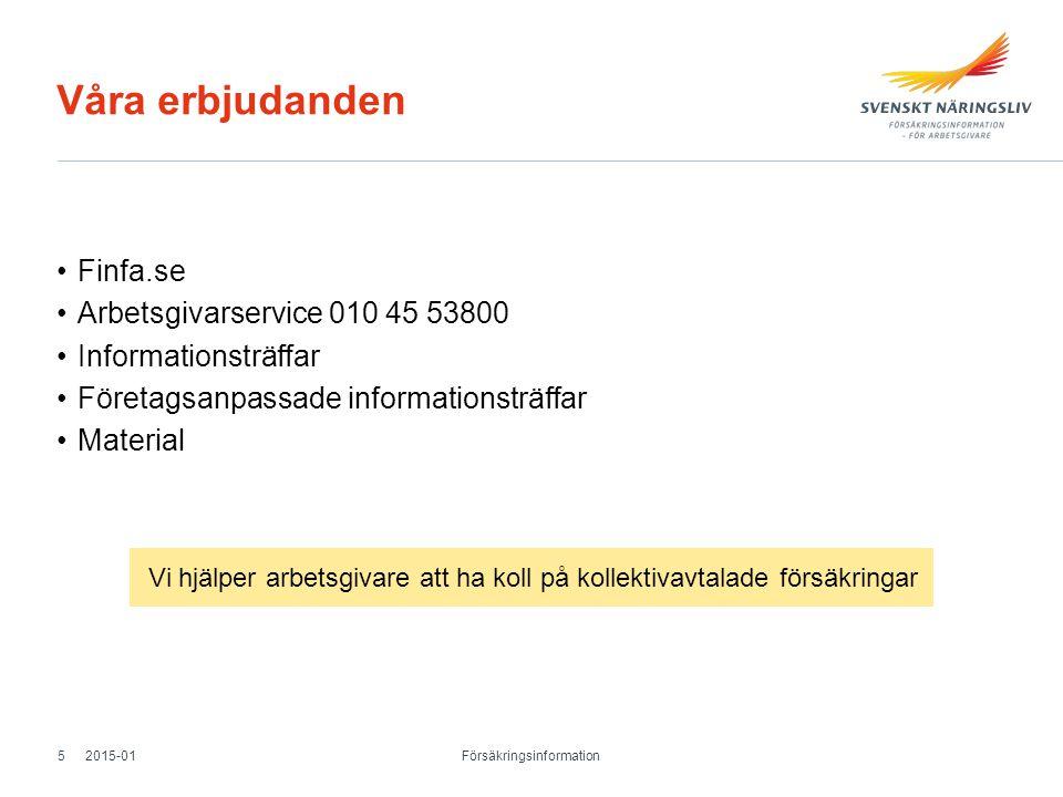 Våra erbjudanden Finfa.se Arbetsgivarservice 010 45 53800 Informationsträffar Företagsanpassade informationsträffar Material 2015-01 Försäkringsinform