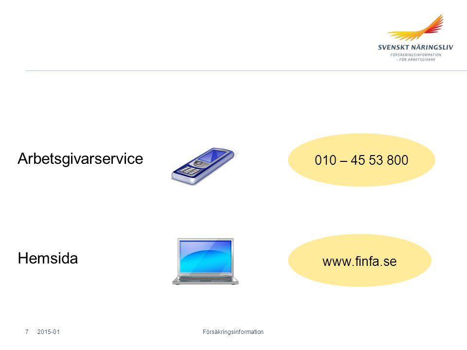 Arbetsgivarservice Hemsida 2015-01 Försäkringsinformation 7 010 – 45 53 800 www.finfa.se