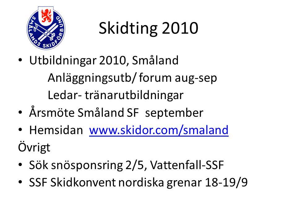 Skidting 2010 Utbildningar 2010, Småland Anläggningsutb/ forum aug-sep Ledar- tränarutbildningar Årsmöte Småland SF september Hemsidan www.skidor.com/
