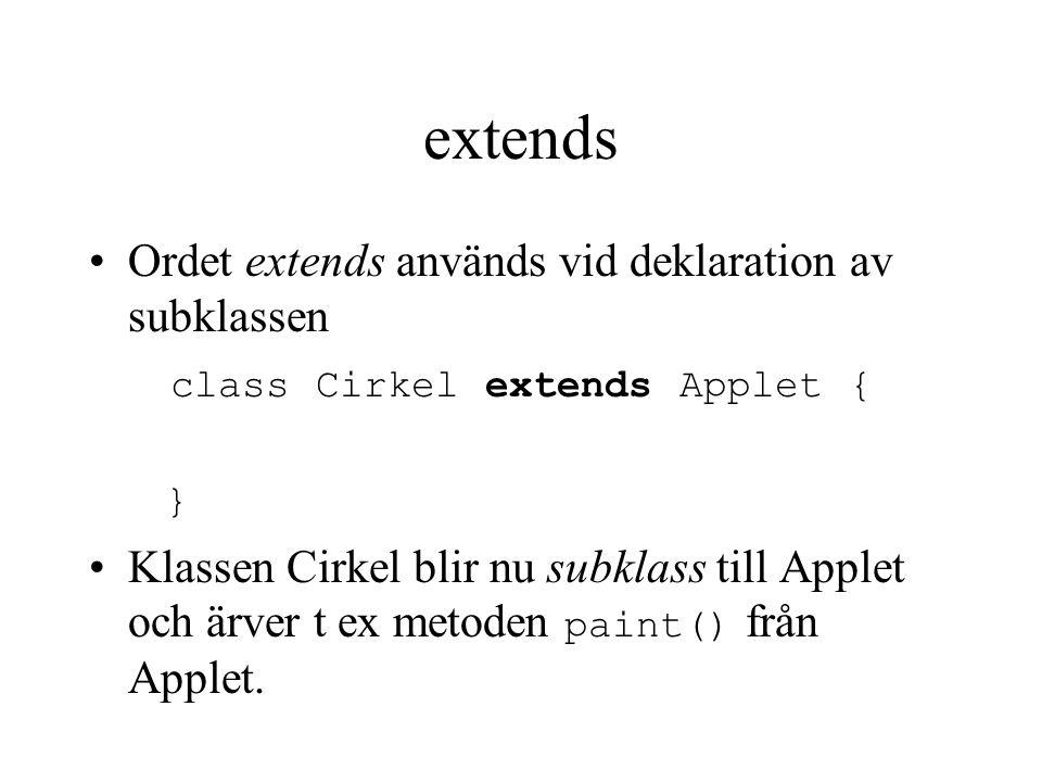 extends Ordet extends används vid deklaration av subklassen class Cirkel extends Applet { } Klassen Cirkel blir nu subklass till Applet och ärver t ex metoden paint() från Applet.