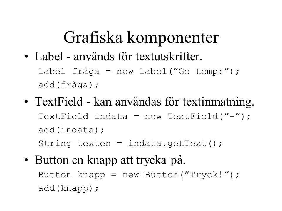 Grafiska komponenter Label - används för textutskrifter.