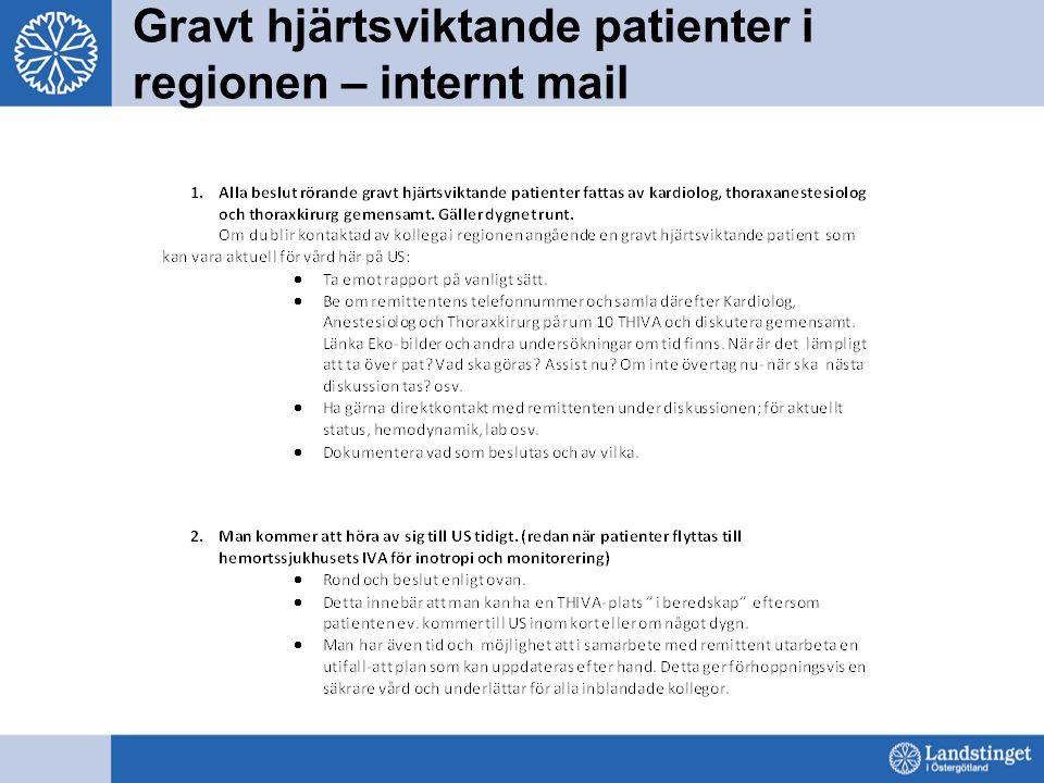 Gravt hjärtsviktande patienter i regionen – internt mail