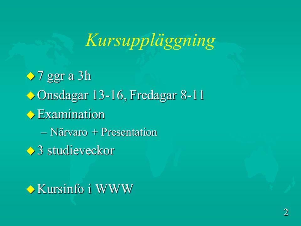 2 Kursuppläggning u 7 ggr a 3h u Onsdagar 13-16, Fredagar 8-11 u Examination –Närvaro + Presentation u 3 studieveckor u Kursinfo i WWW