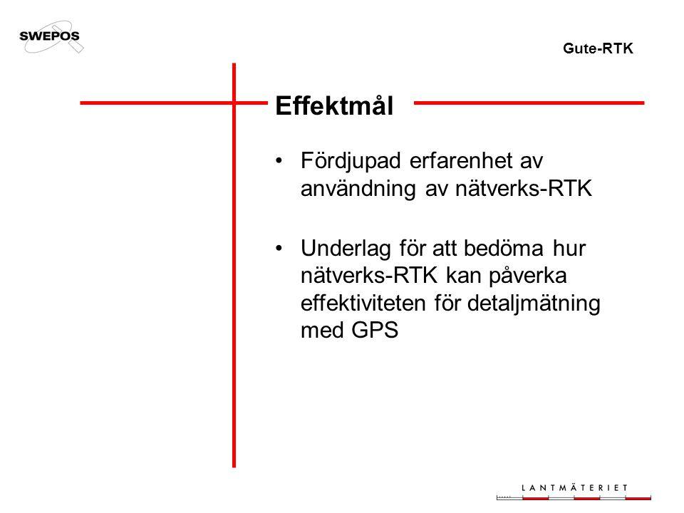 Gute-RTK Fördjupad erfarenhet av användning av nätverks-RTK Underlag för att bedöma hur nätverks-RTK kan påverka effektiviteten för detaljmätning med GPS Effektmål