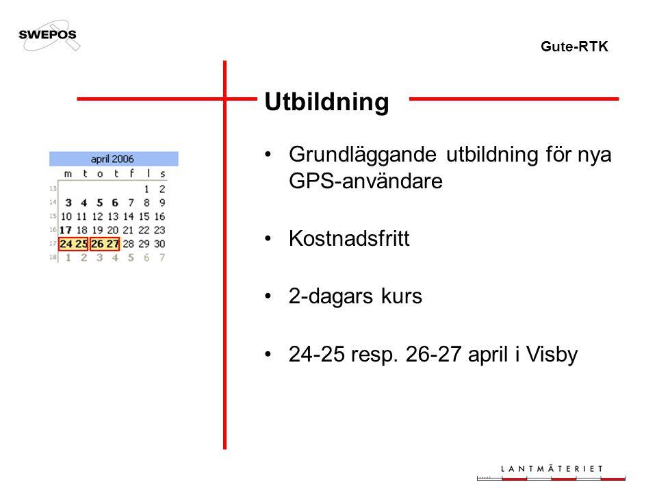 Gute-RTK Utbildning Grundläggande utbildning för nya GPS-användare Kostnadsfritt 2-dagars kurs 24-25 resp.