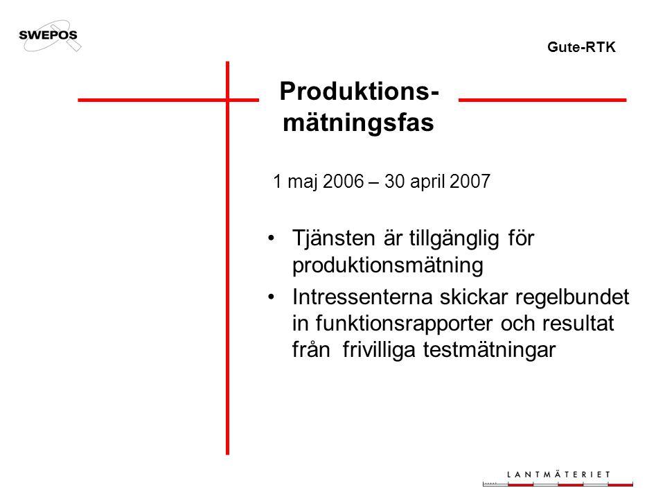 Gute-RTK Produktions- mätningsfas 1 maj 2006 – 30 april 2007 Tjänsten är tillgänglig för produktionsmätning Intressenterna skickar regelbundet in funktionsrapporter och resultat från frivilliga testmätningar