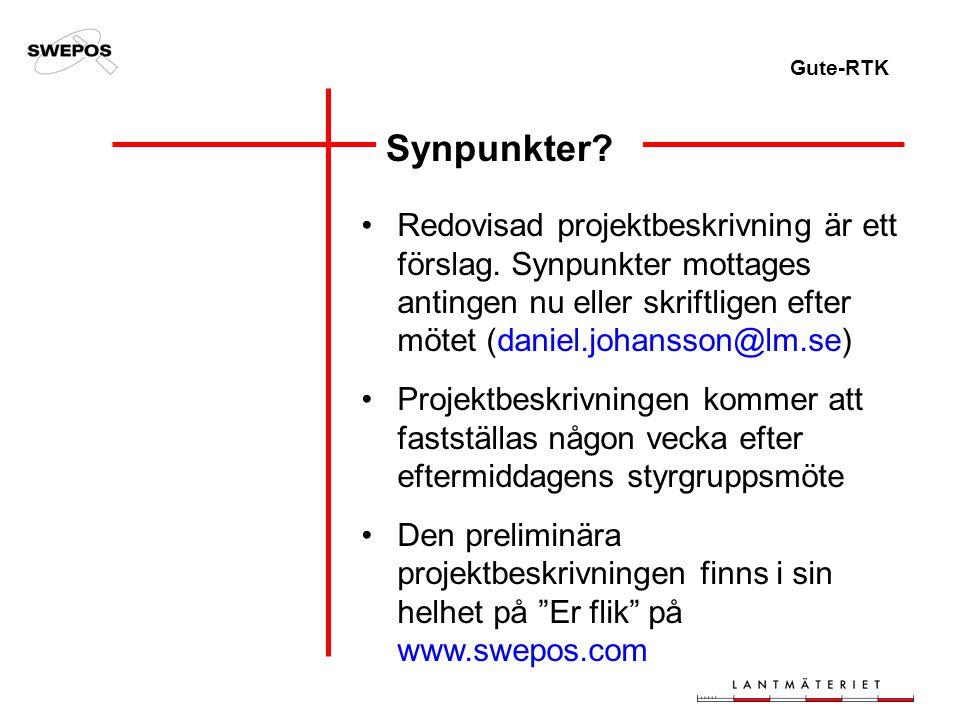 Gute-RTK Synpunkter. Redovisad projektbeskrivning är ett förslag.