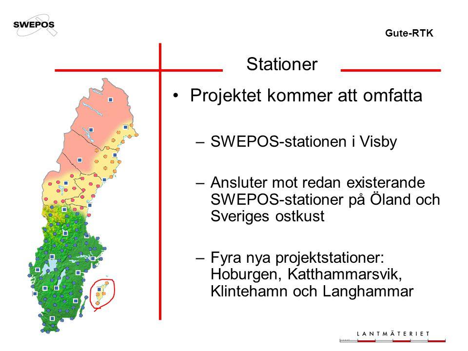 Gute-RTK Stationer Projektet kommer att omfatta –SWEPOS-stationen i Visby –Ansluter mot redan existerande SWEPOS-stationer på Öland och Sveriges ostkust –Fyra nya projektstationer: Hoburgen, Katthammarsvik, Klintehamn och Langhammar