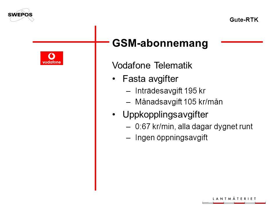 Gute-RTK GSM-abonnemang Vodafone Telematik Fasta avgifter –Inträdesavgift 195 kr –Månadsavgift 105 kr/mån Uppkopplingsavgifter –0:67 kr/min, alla dagar dygnet runt –Ingen öppningsavgift