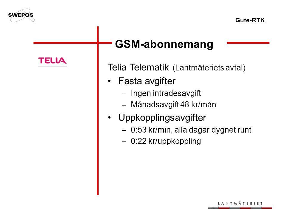 Gute-RTK GSM-abonnemang Telia Telematik (Lantmäteriets avtal) Fasta avgifter –Ingen inträdesavgift –Månadsavgift 48 kr/mån Uppkopplingsavgifter –0:53 kr/min, alla dagar dygnet runt –0:22 kr/uppkoppling