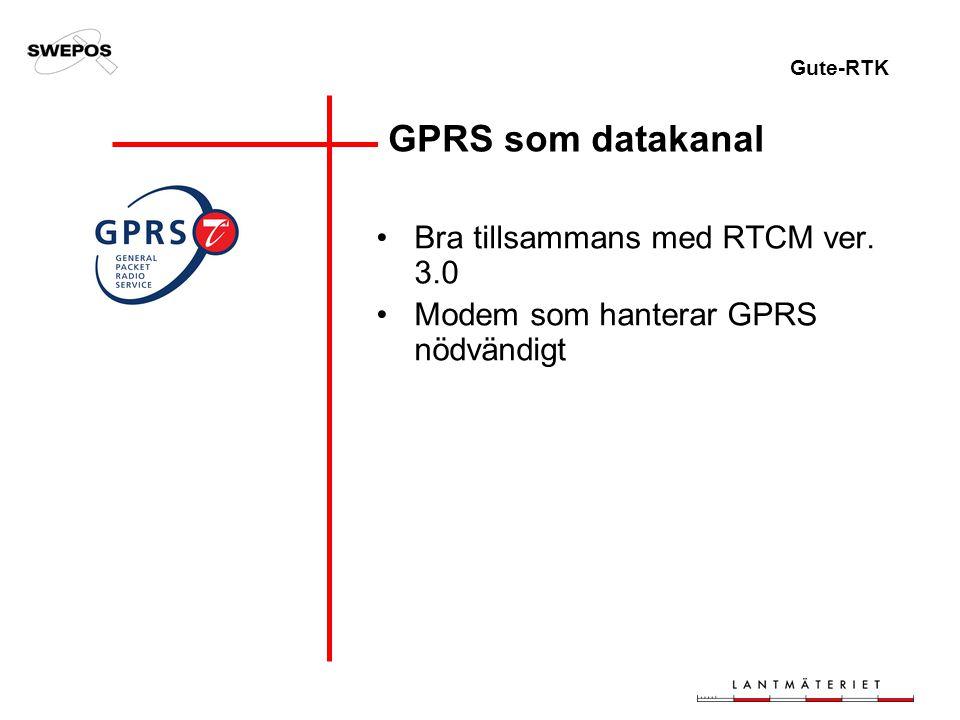 Gute-RTK GPRS som datakanal Bra tillsammans med RTCM ver. 3.0 Modem som hanterar GPRS nödvändigt