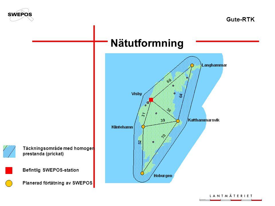 Gute-RTK Nätutformning Täckningsområde med homogen prestanda (prickat) Befintlig SWEPOS-station Planerad förtätning av SWEPOS