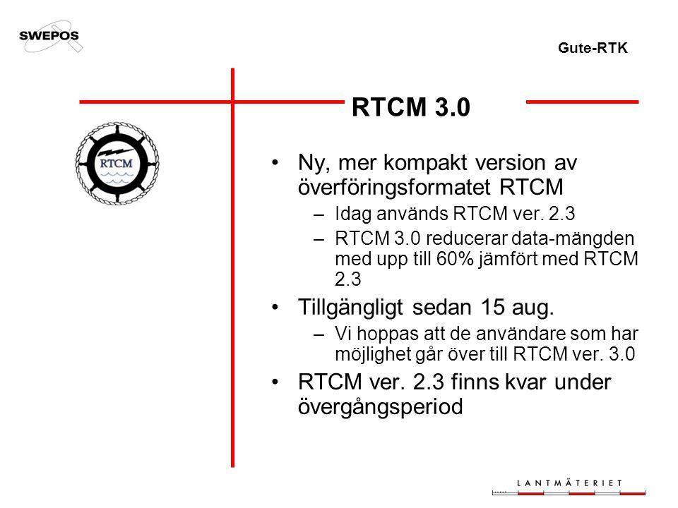 Gute-RTK RTCM 3.0 Ny, mer kompakt version av överföringsformatet RTCM –Idag används RTCM ver.