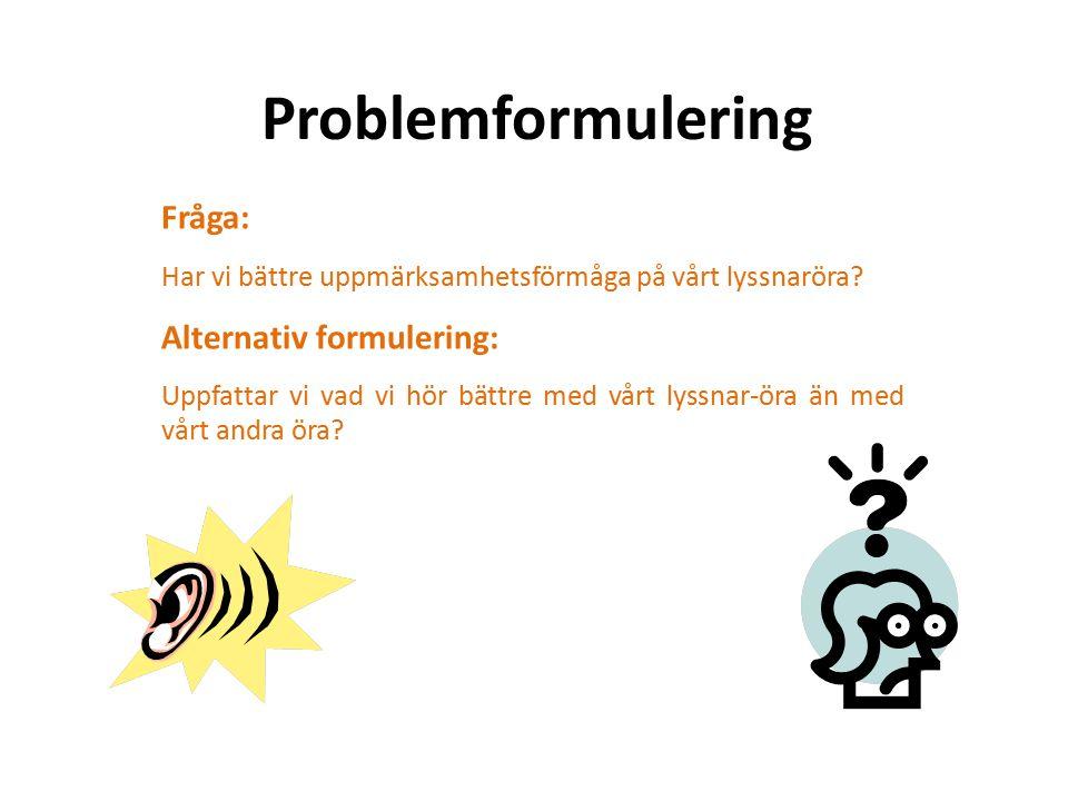 Problemformulering Fråga: Har vi bättre uppmärksamhetsförmåga på vårt lyssnaröra.