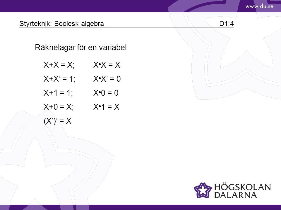 Styrteknik: Boolesk algebra D1:5 Exempel på räknelagar för flera variabler X+YZ = (X+Y)(X+Z) X+XY = X(Absorption) X(X+Y) = X(Absorption) XY+X'Z = XY+X'Z+YZ(Consensus) (X+Y)' = X'Y'(De Morgan) (XY)' = X'+Y'(De Morgan)