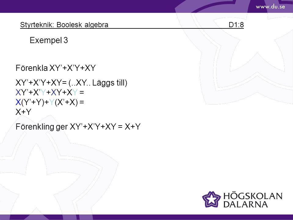Styrteknik: Boolesk algebra D1:8 Exempel 3 Förenkla XY'+X'Y+XY XY'+X'Y+XY= (..XY.. Läggs till) XY'+X'Y+XY+XY = X(Y'+Y)+Y(X'+X) = X+Y Förenkling ger XY