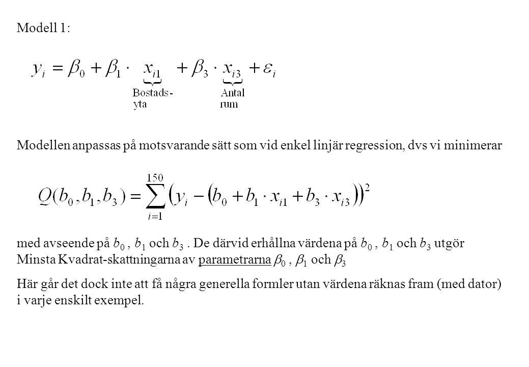 Modell 1: Modellen anpassas på motsvarande sätt som vid enkel linjär regression, dvs vi minimerar med avseende på b 0, b 1 och b 3. De därvid erhållna