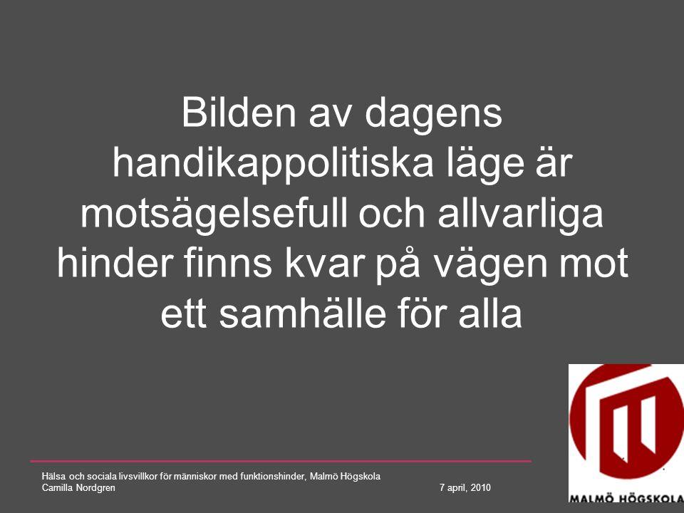 Hälsa och sociala livsvillkor för människor med funktionshinder, Malmö Högskola Camilla Nordgren 7 april, 2010 Syfte Att beskriva hur ett normperspektiv kan användas för att förstå varför lagar inte är tillräckliga för att uppnå full delaktighet