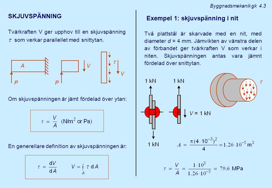 Byggnadsmekanik gk 4.3 SKJUVSPÄNNING Tvärkraften V ger upphov till en skjuvspänning  som verkar parallellet med snittytan.  Om skjuvspänningen är jä
