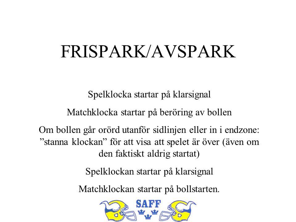 FRISPARK/AVSPARK Spelklocka startar på klarsignal Matchklocka startar på beröring av bollen Om bollen går orörd utanför sidlinjen eller in i endzone: