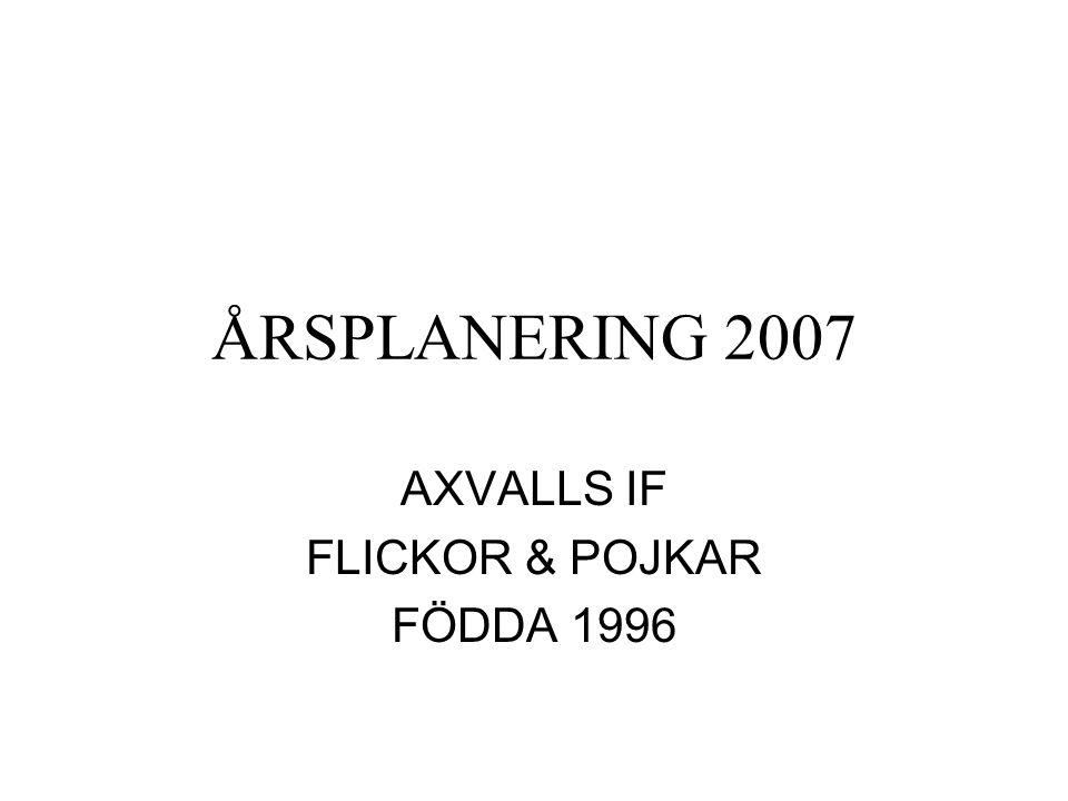 ÅRSPLANERING 2007 AXVALLS IF FLICKOR & POJKAR FÖDDA 1996