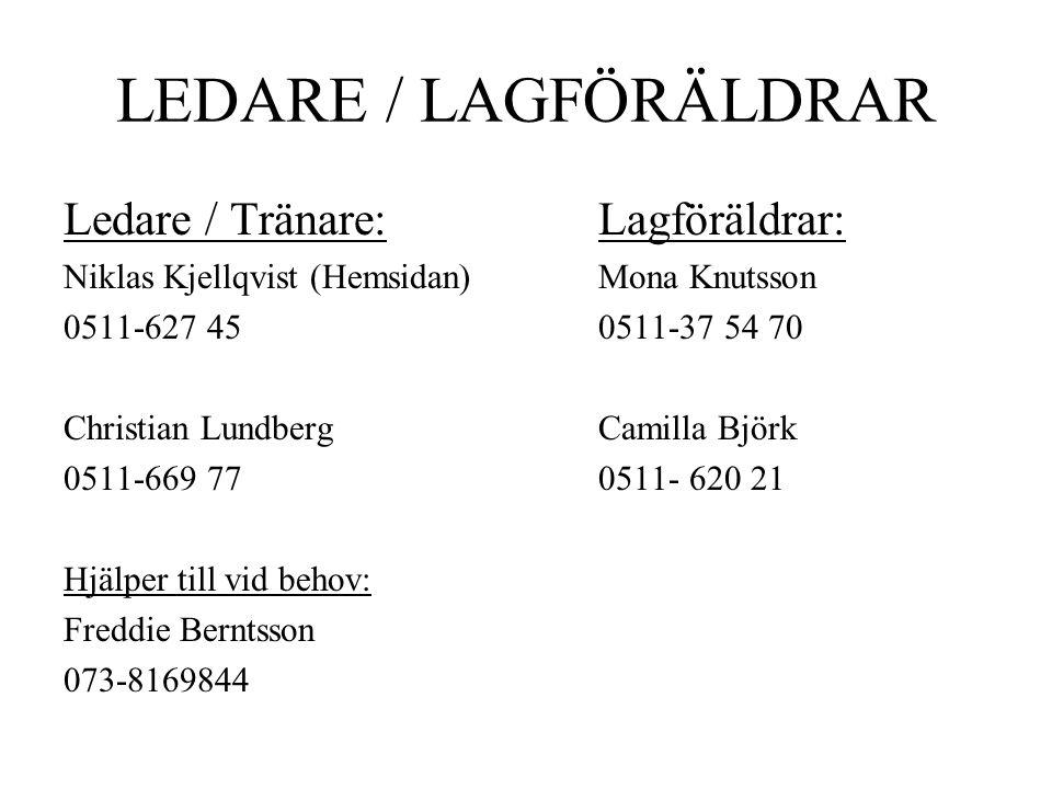 LEDARE / LAGFÖRÄLDRAR Ledare / Tränare: Niklas Kjellqvist (Hemsidan) 0511-627 45 Christian Lundberg 0511-669 77 Hjälper till vid behov: Freddie Berntsson 073-8169844 Lagföräldrar: Mona Knutsson 0511-37 54 70 Camilla Björk 0511- 620 21