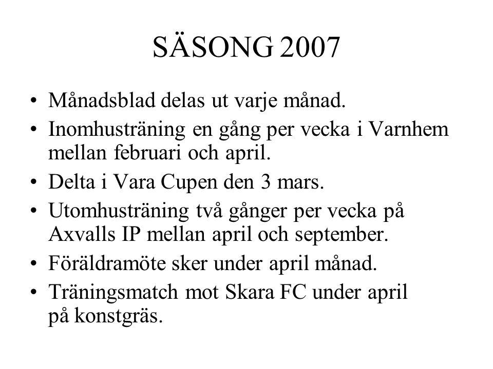 SÄSONG 2007 Månadsblad delas ut varje månad.
