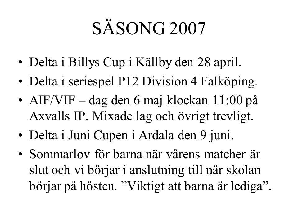 SÄSONG 2007 Delta i Billys Cup i Källby den 28 april.