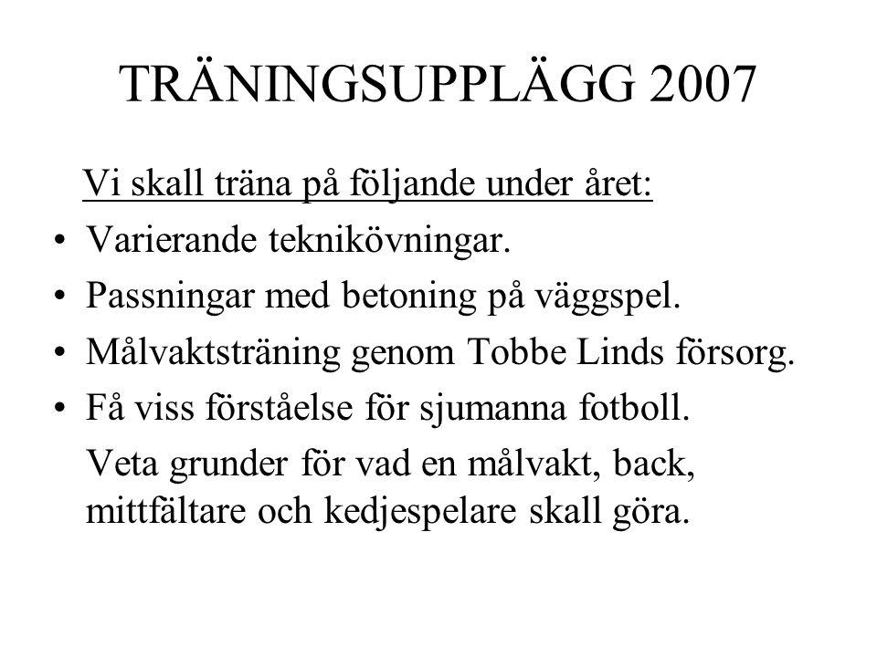 TRÄNINGSUPPLÄGG 2007 Vi skall träna på följande under året: Varierande teknikövningar.