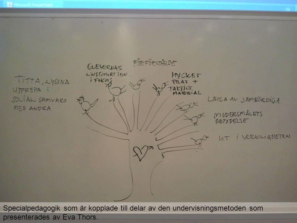 Specialpedagogik som är kopplade till delar av den undervisningsmetoden som presenterades av Eva Thors.