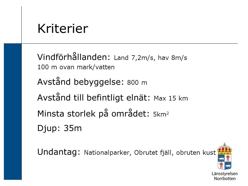 Kriterier Vindförhållanden: Land 7,2m/s, hav 8m/s 100 m ovan mark/vatten Avstånd bebyggelse: 800 m Avstånd till befintligt elnät: Max 15 km Minsta storlek på området: 5km 2 Djup: 35m Undantag: Nationalparker, Obrutet fjäll, obruten kust