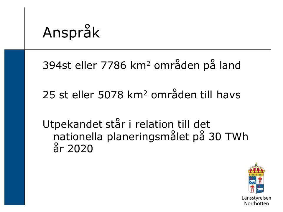 Anspråk 394st eller 7786 km 2 områden på land 25 st eller 5078 km 2 områden till havs Utpekandet står i relation till det nationella planeringsmålet på 30 TWh år 2020