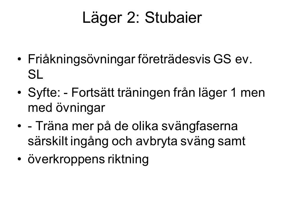 Läger 2: Stubaier Friåkningsövningar företrädesvis GS ev.