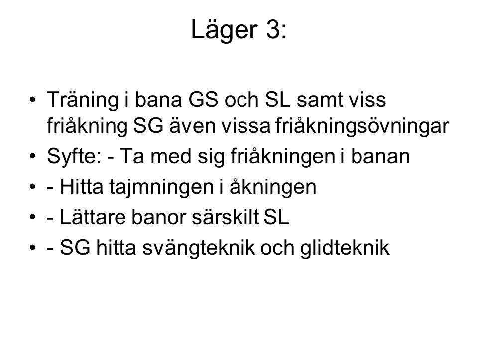 Läger 3: Träning i bana GS och SL samt viss friåkning SG även vissa friåkningsövningar Syfte: - Ta med sig friåkningen i banan - Hitta tajmningen i åkningen - Lättare banor särskilt SL - SG hitta svängteknik och glidteknik