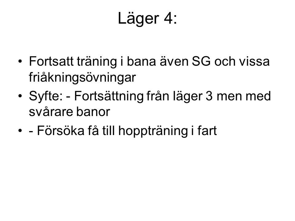 Läger 4: Fortsatt träning i bana även SG och vissa friåkningsövningar Syfte: - Fortsättning från läger 3 men med svårare banor - Försöka få till hoppträning i fart