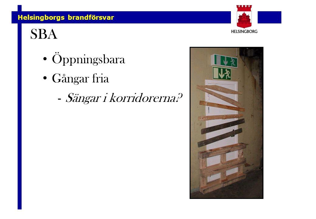 Helsingborgs brandförsvar SBA Öppningsbara Gångar fria -Sängar i korridorerna?