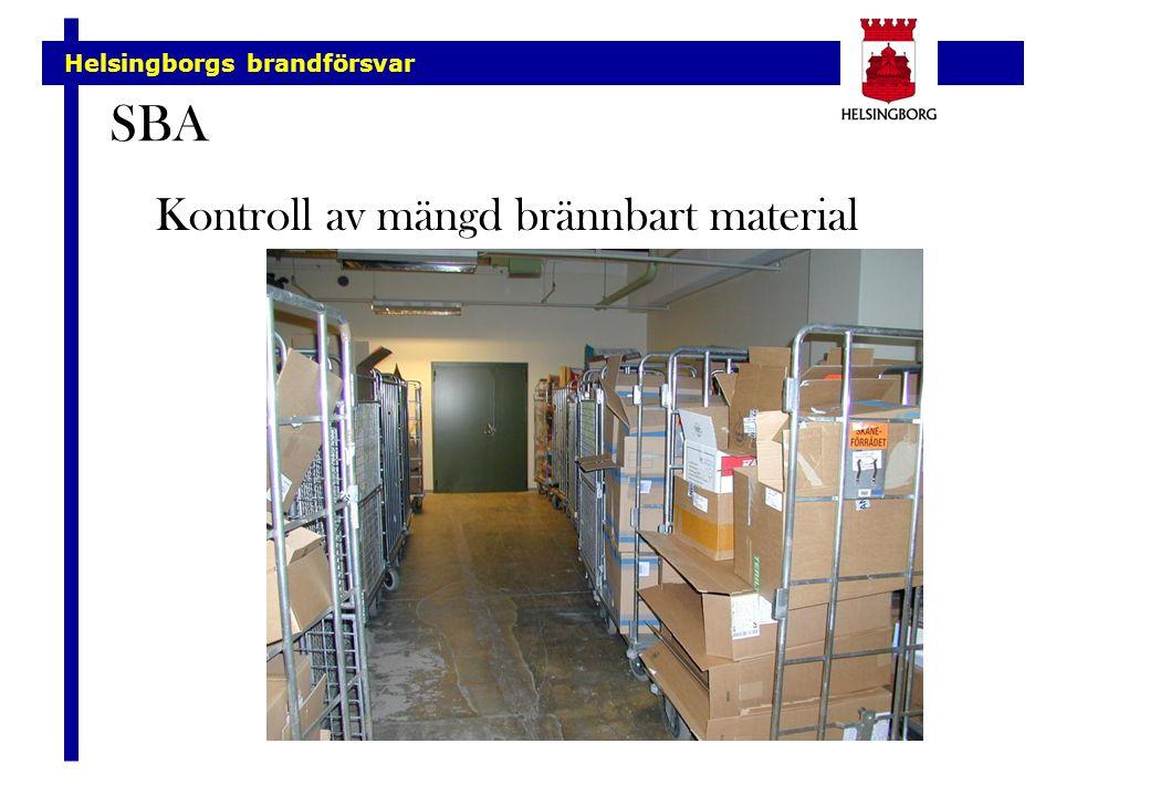 Helsingborgs brandförsvar SBA Kontroll av mängd brännbart material