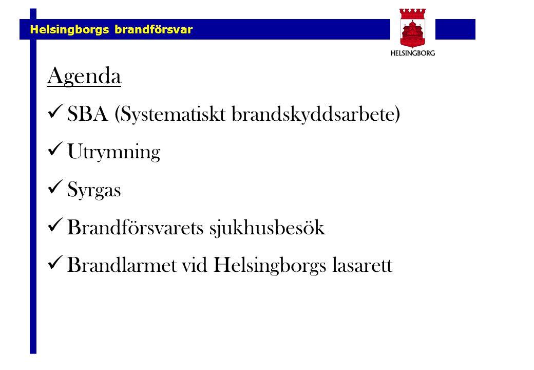 Agenda SBA (Systematiskt brandskyddsarbete) Utrymning Syrgas Brandförsvarets sjukhusbesök Brandlarmet vid Helsingborgs lasarett