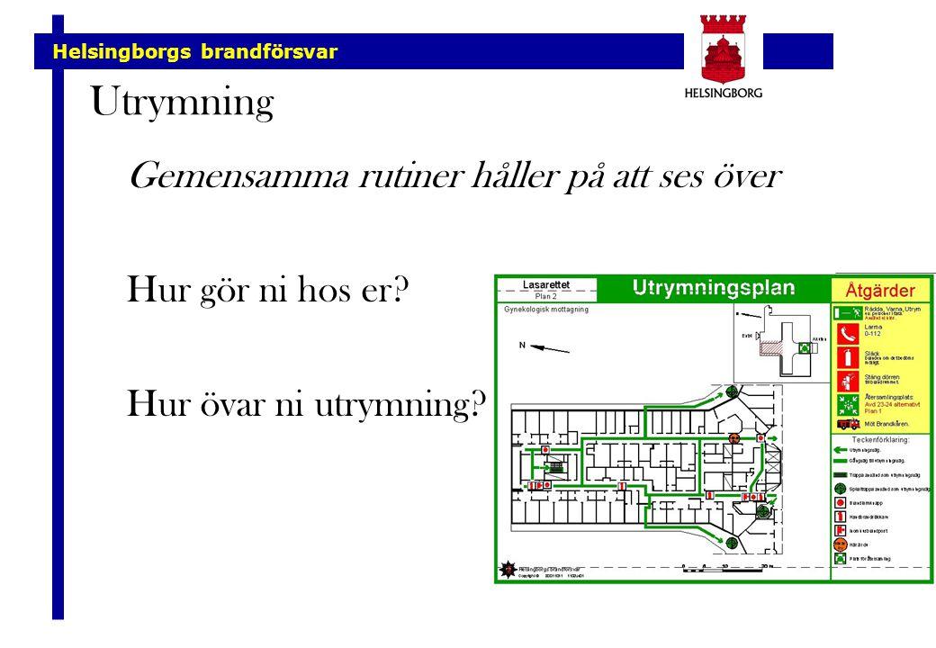 Helsingborgs brandförsvar Utrymning Gemensamma rutiner håller på att ses över Hur gör ni hos er? Hur övar ni utrymning?