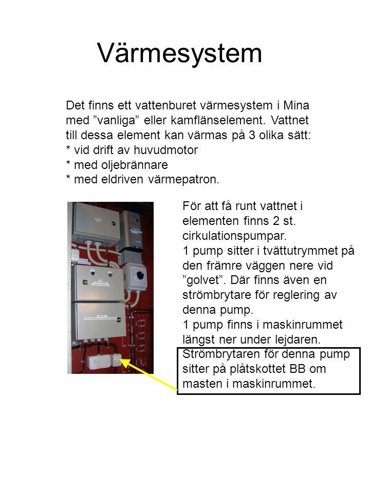 Värmesystem Det finns ett vattenburet värmesystem i Mina med vanliga eller kamflänselement.