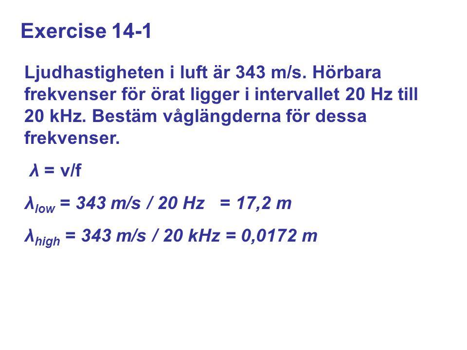 Exercise 14-1 Ljudhastigheten i luft är 343 m/s.