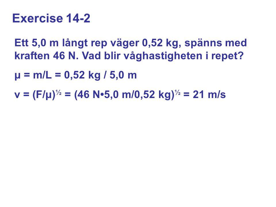 Exercise 14-2 Ett 5,0 m långt rep väger 0,52 kg, spänns med kraften 46 N.