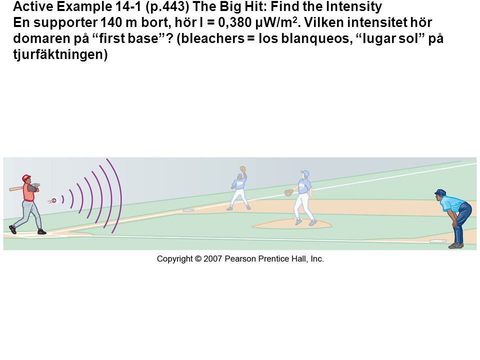 Active Example 14-1 (p.443) The Big Hit: Find the Intensity En supporter 140 m bort, hör I = 0,380 μW/m 2.