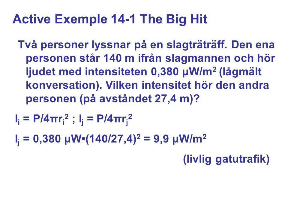 Active Exemple 14-1 The Big Hit Två personer lyssnar på en slagträträff.