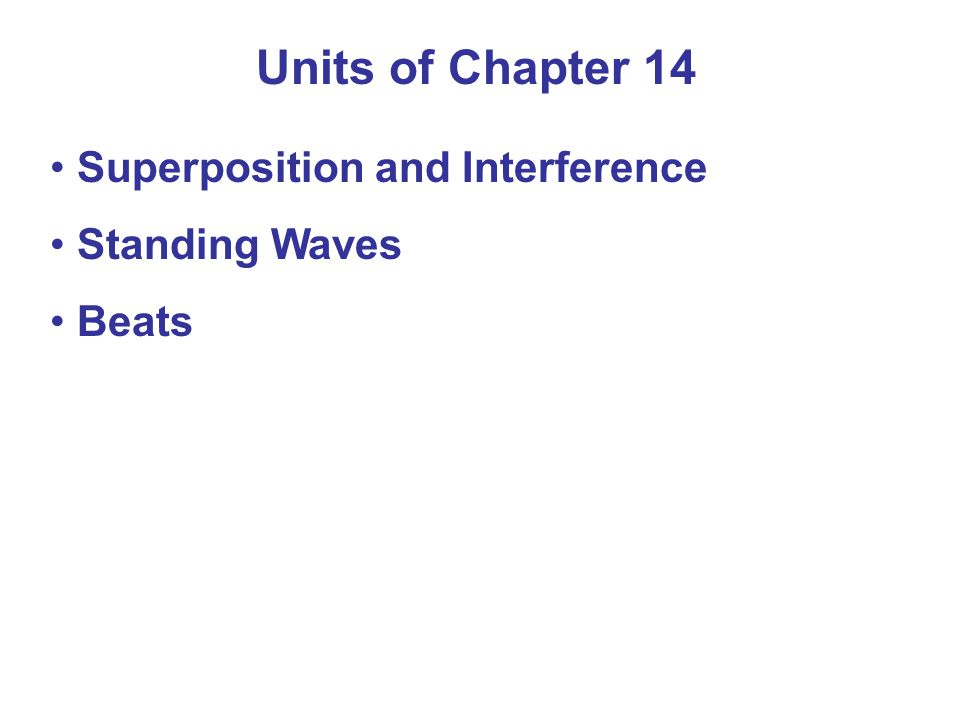 Units of Chapter 14 Superposition and Interference Standing Waves Beats