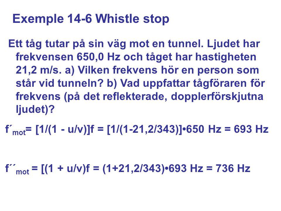 Exemple 14-6 Whistle stop Ett tåg tutar på sin väg mot en tunnel.